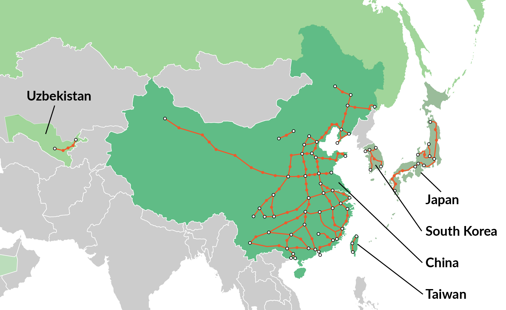High-speed rail in Asia: Japan, South Korea, China, Taiwan, Uzbekistan