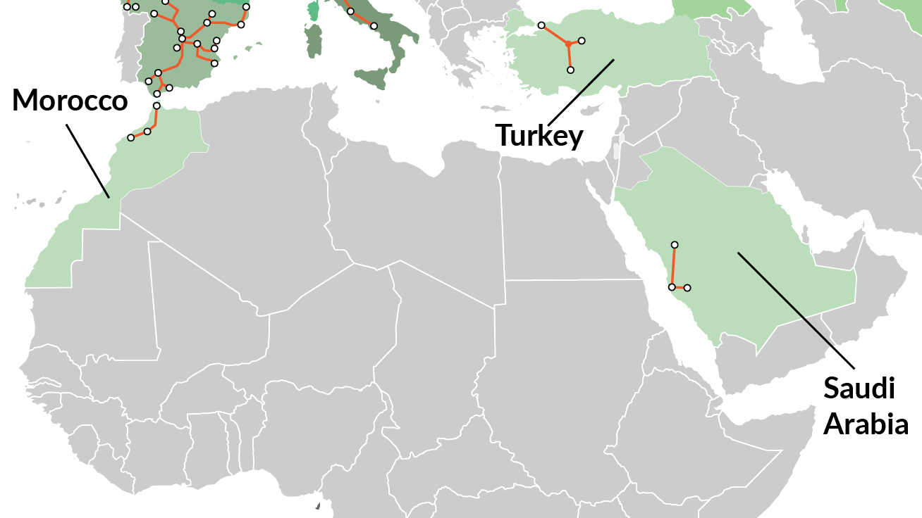 Map of high-speed rail corridors in the Middle East and Africa: Morocco, Turkey, and Saudi Arabia